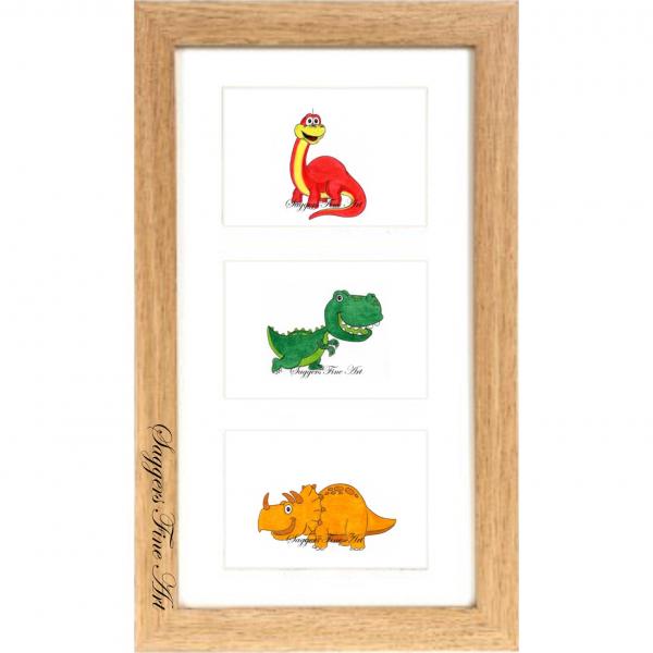 Dino framed triple print