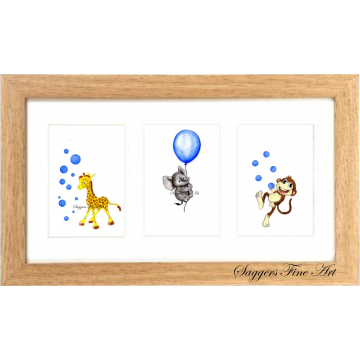 framed triple balloon print