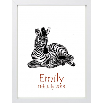 Personalised Baby Zebra Print