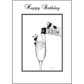 Panda Birthday card - Code 008