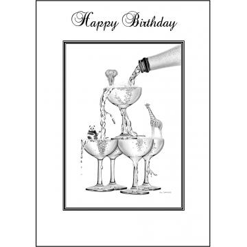 Champagne stack birthday card - Code 020