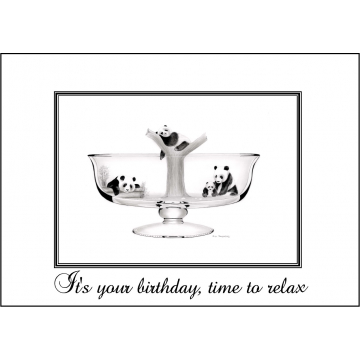 Elegant Panda birthday card - Code 046