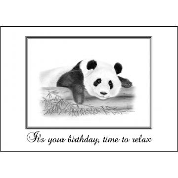Elegant panda birthday card - Code 050