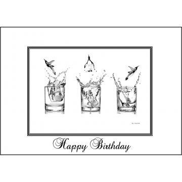 Elegant penguin birthday card - Code 052