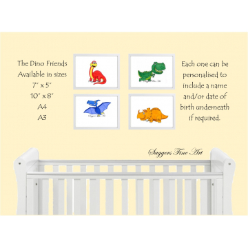 Set of 4 prints - Dino Friends Collection