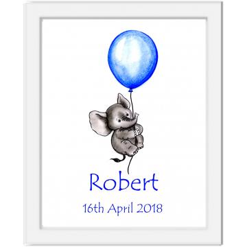 Personalised Baby Floating Elephant Print