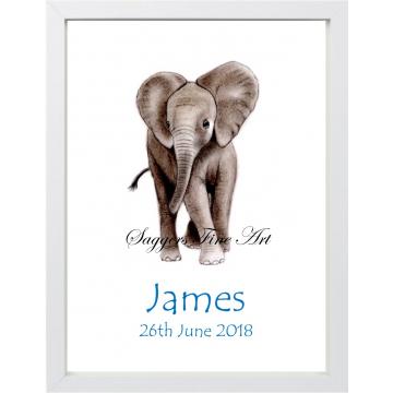 Personalised Baby Elephant Print