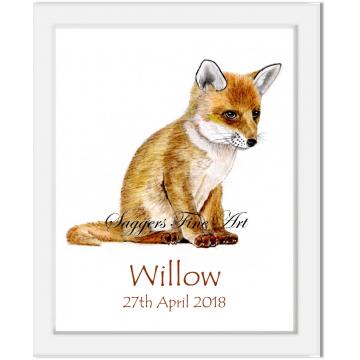 Personalised Fox cub Print