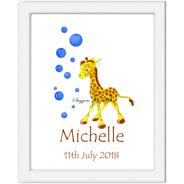 Personalised Baby Giraffe with bubbles Print