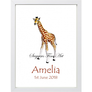 Personalised Baby Giraffe Print