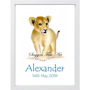 Personalised Lion Cub Print