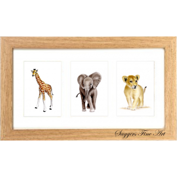 Triple Framed Nursery Africa Prints