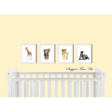 Set of 4 prints - Safari Friends Collection - Offer